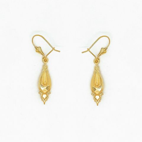 Genuine 9ct Yellow Gold Vintage Style Victorian Drop Earrings